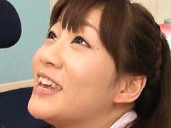 Yuri Shinomiya Asian in school uniform takes stron...
