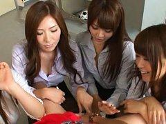 Japanese AV Model and chicks pour saliva on tool a...