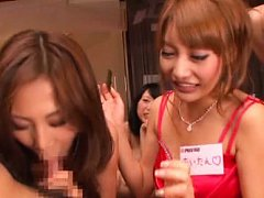 Japanese AV Model takes interview and sucks and st...