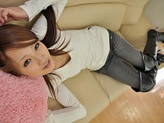 Kanae reclines and shows her tight firm ass in jea...