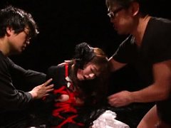 Shiori Kamisaki is tied in ropes and forced to suc...