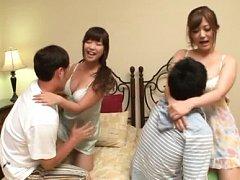 Japanese AV Model and dame put men faces between t...