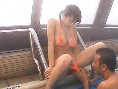 Hana Haruna Asian has peach screwed on pool throug...
