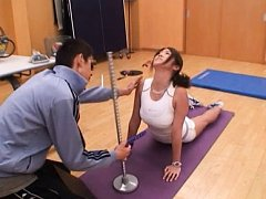 Yuka Nishii Asian does some stretching moves for h...