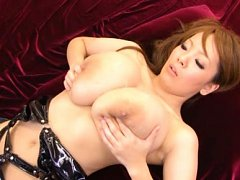 Hitomi Tanaka Asian in leather stockings shows hug...