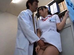 Japanese AV Model busty nurse has vagina rubbed in...