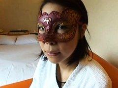 Japanese AV Model wears mask on eyes and bath wrap...
