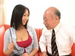 Japanese AV Model turns older man on with her big...