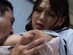 Ai Kanazaki Asian is kissed and has generous bust...