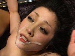 Minako Komukai Asian with big boobs gets lot of cu...