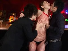 Ai Sayama Asian has nipples licked by dudes over r...