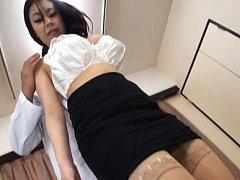 Riai Sakuragi Asian in tight skirt has boobs fondl...