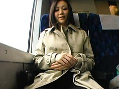 Yukako Shinohara flashes her bra and tits on the t...