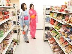 Japanese AV Model goes shopping in sheer kimonos