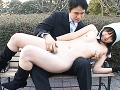 Japanese AV Model sits in his lap and is fingered...