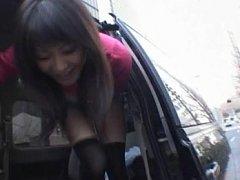 Natsumi Horiguchi wearing a miniskirt that exposes...
