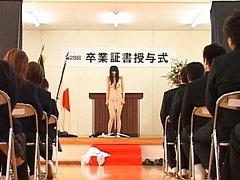 Amateur giving a speech nude in front of the class