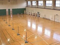 Titty bouncing naked Asian schoolgirls in the gym