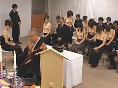 Asian church goers naked in public praying to god