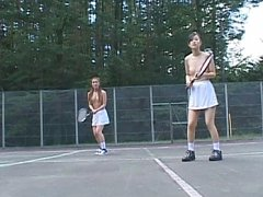 Hot Asian babes playing tennis naked in public tti...