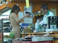 Nasty Miruku strips and sucks a cock in the grocer...