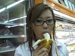Miruku Matsusaka sucking on a banana in this sexy...