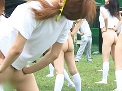 These hot japanese girls show off their asses and...