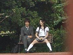 Saori Hara Sexy Asian teen is sitting in the park...