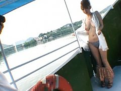 Reon Otowa flashes her naked body while on a boat