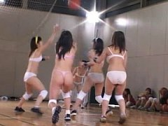 Amateur girls play basketball and have to take the...