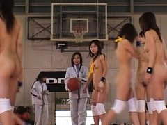 Amateur's boobs hang out while she plays basketbal...
