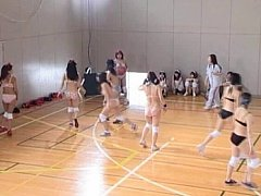 Amateur hotties play a game of ball in their linge...