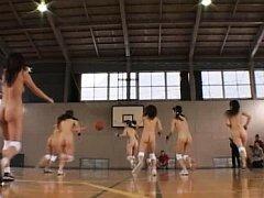 Amateur girls play basketball nude and like to fee...