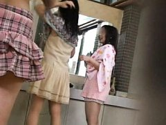 Japanese AV Model and two dames take clothes off a...