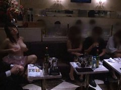 Azusa Nagasawa flashes her pussy in a club full of...