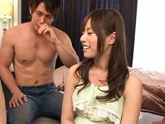 Rina Rukawa Asian smiles while is undressed by hor...
