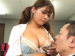 Busty Satou Haruka surprises office man with her m...