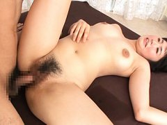 Satomi Nomiya Asian with fine tits has hairy slit...