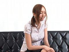 Japanese AV Model in shirt uses vibrator on slit i...