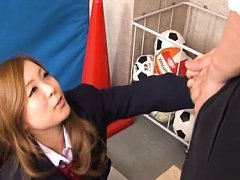 Japanese AV Model in uniform takes teacher cock an...