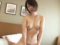 Japanese AV Model with nasty boobs licks dick befo...