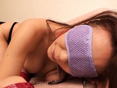 Kaori Saejima Asian busty with covered eyes is pum...