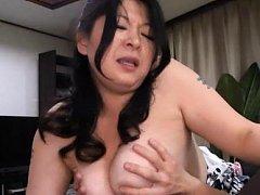 Japanese AV Model has titties fondled while jumpin...
