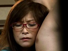 Japanese AV Model with specs sticks boner in her w...