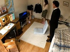 Japanese AV Model gets horny and shows panty while...