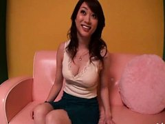 Akari Hoshino Asian licks her fingers and has big...