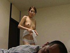 Japanese AV Model says goodbye to clothes to ride...