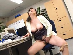 Chizuru Iwasaki Asian fondles big tits and rubs fi...