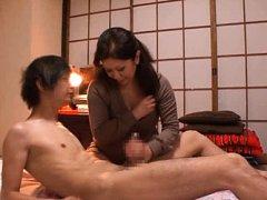Chizuru Iwasaki Asian dame sucks and strokes tool...