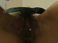 Japanese AV Model with dark nipples has hairy love...